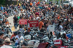 Lakeside Avenue in the Weir's during Laconia Motorcycle Week. NH, USA. June 21, 2014.  Photography ©2014 Michael Lichter.
