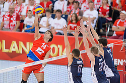 11.09.2014, Atlas Arena, Lodz, POL, FIVB WM, Serbien vs USA, 2. Runde, Gruppe E, im Bild Aleksandar Atanasijevic, Paul Lotman, David Smith, Matthew Anderson // during the FIVB Volleyball Men's World Championships 2nd Round Pool E Match beween Serbia and USA at the Atlas Arena in Lodz, Poland on 2014/09/11. EXPA Pictures © 2014, PhotoCredit: EXPA/ Newspix/ Mariusz Palczynski<br /> <br /> *****ATTENTION - for AUT, SLO, CRO, SRB, BIH, MAZ, TUR, SUI, SWE only*****