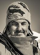 Colin Monteath, photographer, during Tsaatan reindeer journey, northern Mongolia, March 2014