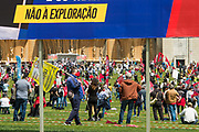 1st of May Celebrations in Lisbon organised by one of the two portuguese workers Unions (CGTP-IN). Labour Day was celebrated with social distancing having members of this left-wing union strictly measuring distances and marking on the flor stripes to keep distace between participants.