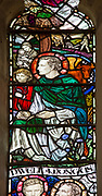 Stained glass window by Margaret Agnes Rope, Church of Saint Peter, Blaxhall, Suffolk, England, UK c 1912