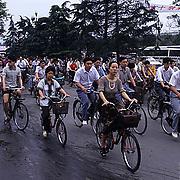 China, Cities, Bikers in city of Chengdu.