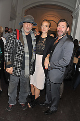 Left to right, RON ARAD, artist POLLY MORGAN and MAT COLLISHAW at a party to celebrate the launch of the new gallery Pace at 6 Burlington Gardens, London on 3rd October 2012.