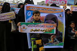 February 5, 2018 - The Women's Work Department of the Islamic Jihad Palestinian movement organize a vigil outside the Red Cross headquarter in Gaza City in solidarity with Esraa Al-Jabbais and other Palestinian female prisoners held in Israeli jails (Credit Image: © Ahmad Hasaballah/ImagesLive via ZUMA Wire)