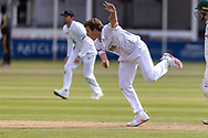 Brad Wheal bowling during Day 3 of the LV= Insurance County Championship match between Leicestershire County Cricket Club and Hampshire County Cricket Club at the Uptonsteel County Ground, Leicester, United Kingdom on 10 April 2021.