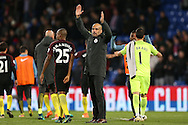 Pep Guardiola, the Manchester City manager applauds the Man city fans after the final whistle. Premier League match, Crystal Palace v Manchester city at Selhurst Park in London on Saturday 19th November 2016. pic by John Patrick Fletcher, Andrew Orchard sports photography.