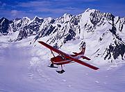 K2 Aviation's Cessna 185 on wheel skis flying above the Sheldon Amphitheater of the Ruth Glacier, Denali National Park, Alaska.