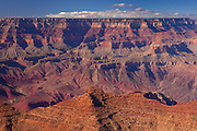 The layers that make up the eroding walls of the Grand Canyon are visible from the Desert View vantage point on the south rim of Grand Canyon National Park, Arizona.