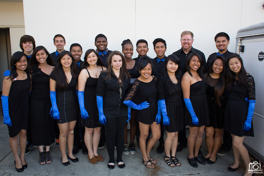 The Milpitas High School Glee Club poses for a portrait before performing the National Anthem during the Milpitas State of the City Address at the Milpitas Community Center in Milpitas, California, on May 30, 2013. (Stan Olszewski/SOSKIphoto)