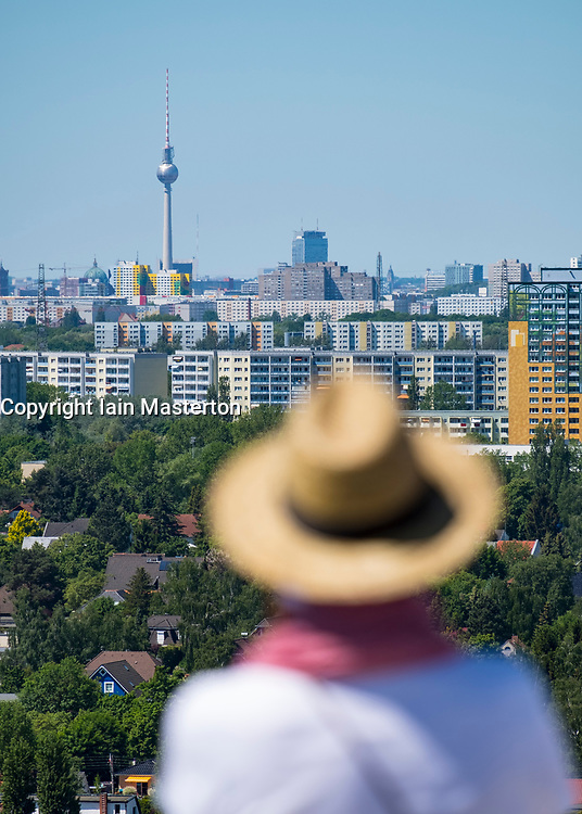 Visitor on viewing platform looking at Berlin skyline  at IFA 2017 International Garden Festival (International Garten Ausstellung) in Berlin, Germany