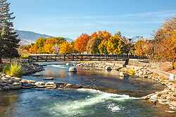 """""""Truckee River in Autumn 34"""" - Photograph of the Truckee River in the fall, shot in Downtown Reno, Nevada."""