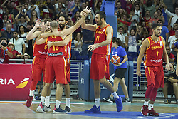 September 17, 2018 - Madrid, Madrid, Spain - Spain's players jubilate the victory after the FIBA World Cup play-offs between Spain and Latvia, at the Wizink Center, in Madrid, Spain, 17 September 2018. (Credit Image: © Oscar Gonzalez/NurPhoto/ZUMA Press)