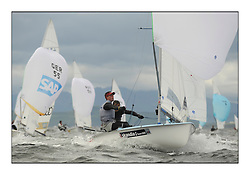 470 Class European Championships Largs - Day 3.Brighter conditions with more wind..GBR852, Philip SPARKS, David KOHLER,  RLYC