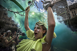 May 27, 2019 - Sao Paulo, Brazil - Artistic Intervention Grupo makes artistic intervention celebrating the Atlantic Forest Day on the steps of the Municipal Theater in Sao Paulo. (Credit Image: © Cris Faga/ZUMA Wire)
