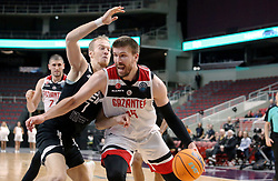 RIGA, Nov. 6, 2019  Roberts Freimanis (L, front) of VEF Riga vies with Ivan Buva of Gaziantep Basketbol during the group C match at Europe Basketball Champions League in Riga, Latvia, on Nov. 5, 2019. (Photo by Edijs Palens/Xinhua) (Credit Image: © Edijs Palens/Xinhua via ZUMA Wire)
