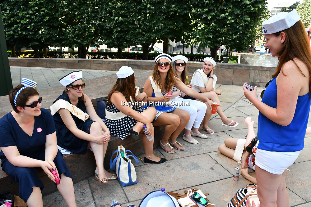 A group of hen night girls at Canary Wharf, on 29 June 2019, London, UK.