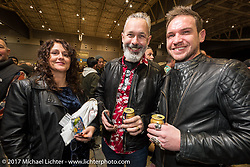 Custom builder Charlie Stockwell from Warr's Harley-Davidson of London with his customer Matthew Hegarty at <br /> Mooneyes 26th Annual Yokohama Hot Rod and Custom Show pre-party at the Pacifico Hall, Yokohama, Japan. Saturday December 2, 2017. Photography ©2017 Michael Lichter.
