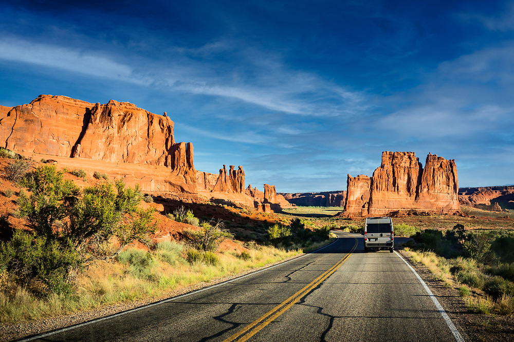 Van Driving through Arches National Park near Moab, Utah. ©justinalexanderbartels.com