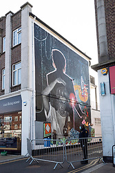 © Licensed to London News Pictures. 17/09/2020. London, UK. A 9-metre high mural of the late singer George Michael is unveiled in Kingsbury Road. He grew up and went to school close to the area. The work by British artist Dawn Mellor was commissioned as part of the Brent Biennial, London Borough of Culture for 2020. Photo credit: London News Pictures
