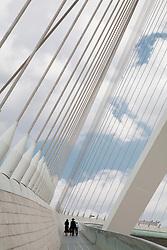 Middle East, Israel, Jerusalem, Hasidic Jewish family walking over Chords Bridge, designed by Santiago Calatrava