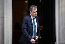 London, UK. 10th April 2019. Chief Whip Julian Smith leaves 10 Downing Street to attend Prime Minister's Questions in the House of Commons.