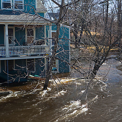 A home being flooded by the Exeter River in Exeter, New Hampshire.  March 2010 flood.