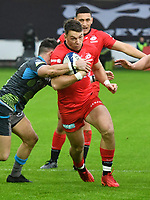 Rugby Union - 2019 / 2020 European Rugby Heineken Champions Cup - Pool Four: Ospreys vs. Saracens<br /> <br />  Alex Lewington of Saracens attacks, at the Liberty Stadium.<br /> <br /> COLORSPORT/WINSTON BYNORTH