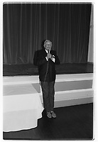 Dr Alexander Moulton CBE gives a speech at the 30th anniversary of Moulton Bikes. September 1992