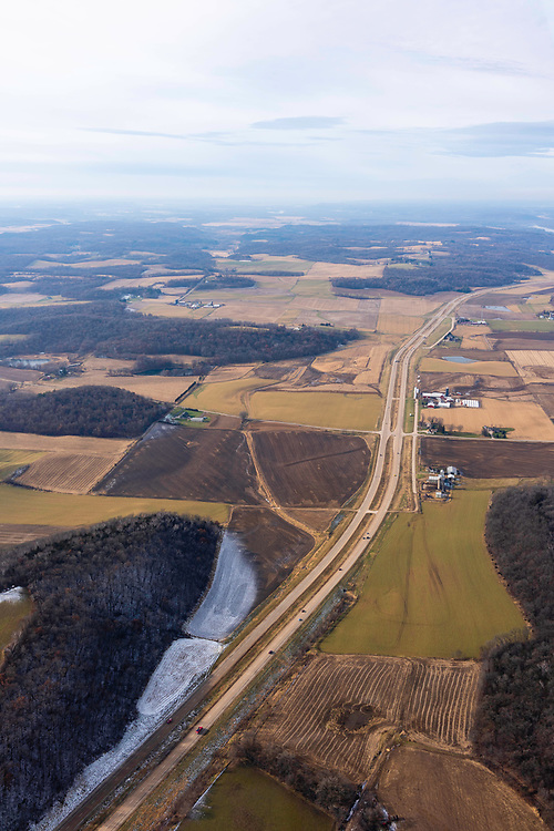 Aerial photograph of Highway 12 in northwest Dane County, Wisconsin, USA.