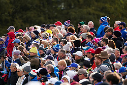 Auchterarder, Scotland, UK. 14 September 2019. Saturday morning Foresomes matches  at 2019 Solheim Cup on Centenary Course at Gleneagles. Pictured; Many spectators crowding along the 8th fairway and green. Iain Masterton/Alamy Live News