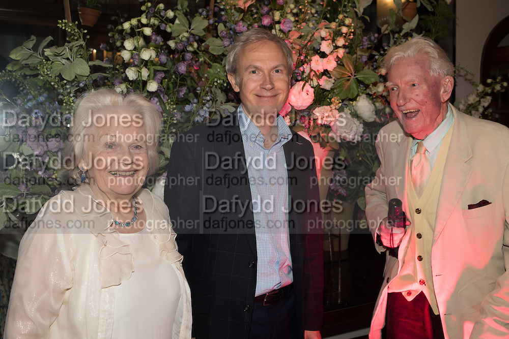 MARIGOLD JOHNSON; LUKE JOHNSON; PAUL JOHNSON, The Brown's Hotel Summer Party hosted by Sir Rocco Forte and Olga Polizzi, Brown's Hotel. Albermarle St. London. 14 May 2015