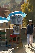 Czeck Republic - Prague, Portrait artisit's stand on the Charles bridge.