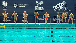 Team Netherlands against Romania during the Olympic qualifying tournament. The Dutch water polo players are on the hunt for a starting ticket for the Olympic Games on February 16, 2021 in Rotterdam