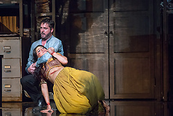 © Licensed to London News Pictures. 13/06/2014. London, UK. English National Opera perform Bizet's The Pearl Fishers at the London Coliseum. Picture features: George von Bergen as Zurga and Sophie Bevan as Leila.  Photo credit : Tony Nandi/LNP