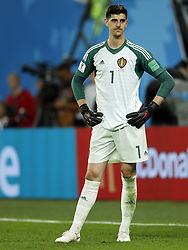 goalkeeper Thibaut Courtois of Belgium during the 2018 FIFA World Cup Semi Final match between France and Belgium at the Saint Petersburg Stadium on June 26, 2018 in Saint Petersburg, Russia