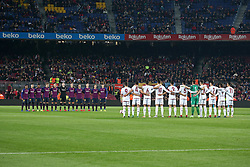 December 5, 2018 - Barcelona, Spain - minute of silence in memory of the former president of Barcelona, Josep Lluis Nunez, during the match between FC Barcelona and Cultural Leonesa, corresponding to the 1/16 final of the spanish King Cuo, played at the Camp Nou Stadium on 05th December 2018 in Barcelona, Spain. Photo: Joan Valls/Urbanandsport /NurPhoto. (Credit Image: © Joan Valls/NurPhoto via ZUMA Press)
