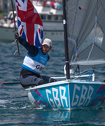 05.08.2012, Bucht von Weymouth, GBR, Olympia 2012, Segeln, im Bild Gold Medal Winner .Ainslie Ben, (GBR, Finn) // during Sailing, at the 2012 Summer Olympics at Bay of Weymouth, United Kingdom on 2012/08/05. EXPA Pictures © 2012, PhotoCredit: EXPA/ Daniel Forster ***** ATTENTION for AUT, CRO, GER, FIN, NOR, NED, .POL, SLO and SWE ONLY!