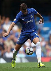 """Chelsea's Alvaro Morata during the Premier League match at Stamford Bridge, London. PRESS ASSOCIATION Photo. Picture date: Saturday August 12, 2017. See PA story SOCCER Chelsea. Photo credit should read: John Walton/PA Wire. RESTRICTIONS: EDITORIAL USE ONLY No use with unauthorised audio, video, data, fixture lists, club/league logos or """"live"""" services. Online in-match use limited to 75 images, no video emulation. No use in betting, games or single club/league/player publications."""