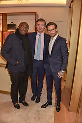 Edward Enninful, Laurent Feniou and Liam Payne at the reopening of the Cartier Boutique, New Bond Street, London, England. 31 January 2019. <br /> <br /> ***For fees please contact us prior to publication***