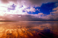 The sky reflecting into the sands of Inch Strand, Inch, Dingle Peninsula, County Kerry, Ireland