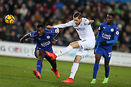 Gylfi Sigurdsson of Swansea city © shoots at goal.   Premier league match, Swansea city v Leicester City at the Liberty Stadium in Swansea, South Wales on Sunday 12th February 2017.<br /> pic by Andrew Orchard, Andrew Orchard sports photography.