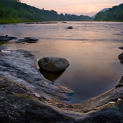 The White River at sunset in Hartford, Vermont.  Connecticut River tributary.