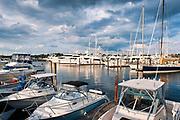 Power boats and yachts in Newport harbor marina, RI, Rhode Island, USA