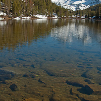 Bear Creek Spire rises behind Marsh Lake, in Little Lakes Valley at the head of Rock Creek Canyon in California's eastern Sierra Nevada.