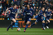 Jan Vertonghen of Tottenham Hotspur (l) takes the ball forward with Lucas Moura ©, Christian Eriksen and Ben Davies of Tottenham in support.  The Emirates FA Cup, quarter-final match, Swansea city v Tottenham Hotspur at the Liberty Stadium in Swansea, South Wales on Saturday 17th March 2018.<br /> pic by  Andrew Orchard, Andrew Orchard sports photography.