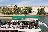 riverside cafe in Paris France in Spring time of May 2008