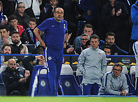 Football - 2018 / 2019 Europa League - Group L: Chelsea - MOL Vidi<br /> <br /> Chelsea Manager, Maurizio Sarri with assistant coach Gian franco Zola, at Stamford Bridge.<br /> <br /> COLORSPORT/ANDREW COWIE