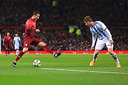 Cristiano Ronaldo of Portugal demonstrates his footwork against Cristian Ansaldi of Argentina - Argentina vs. Portugal - International Friendly - Old Trafford - Manchester - 18/11/2014 Pic Philip Oldham/Sportimage