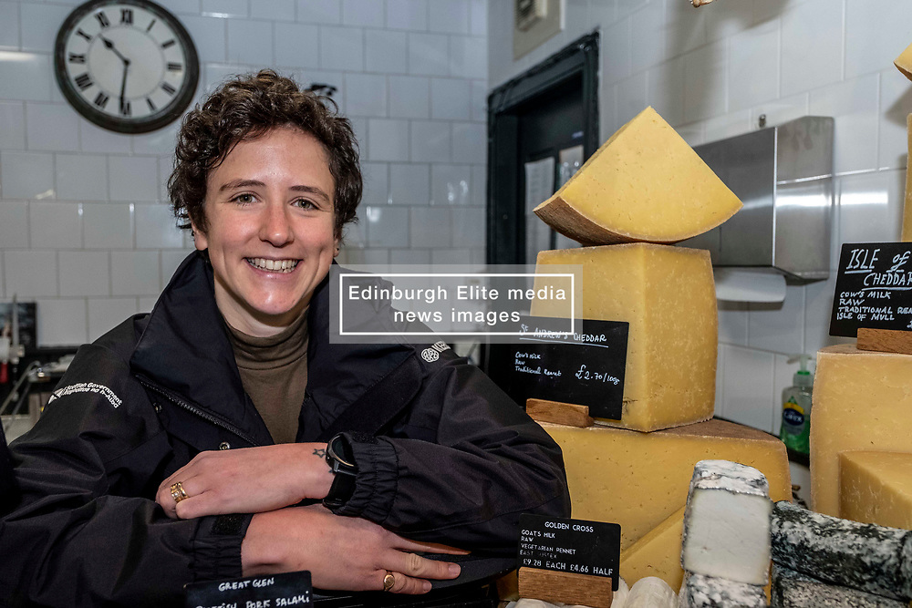 Pictured: Mairi Gougeon<br /><br />Rural Affairs Minister Mairi Gougeon, MSP,  announced funding to promote locally sourced food and drink on a visit to an Edinburgh cheesemonger today.<br /> <br /> A total of 21 projects will share £95,550 from the Connect Local Regional Food Fund.<br /> <br /> Ms Gougeon met producers from Fine Cheesemakers of Scotland at I.J. Mellis Cheesemonger in Edinburgh. The group has been awarded funding to develop marketing materials and promote cheese as a pairing to whisky.<br /> <br /> Ger Harley | EEm 20 February 2020