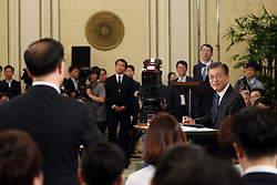 Aug.17, 2017 - Seoul, South Korea - South Korean President MOON JAE-IN listens to a reporter during a press conference marking his first 100 days in office in Seoul. (Credit Image: © Blue House/Xinhua via ZUMA Wire)